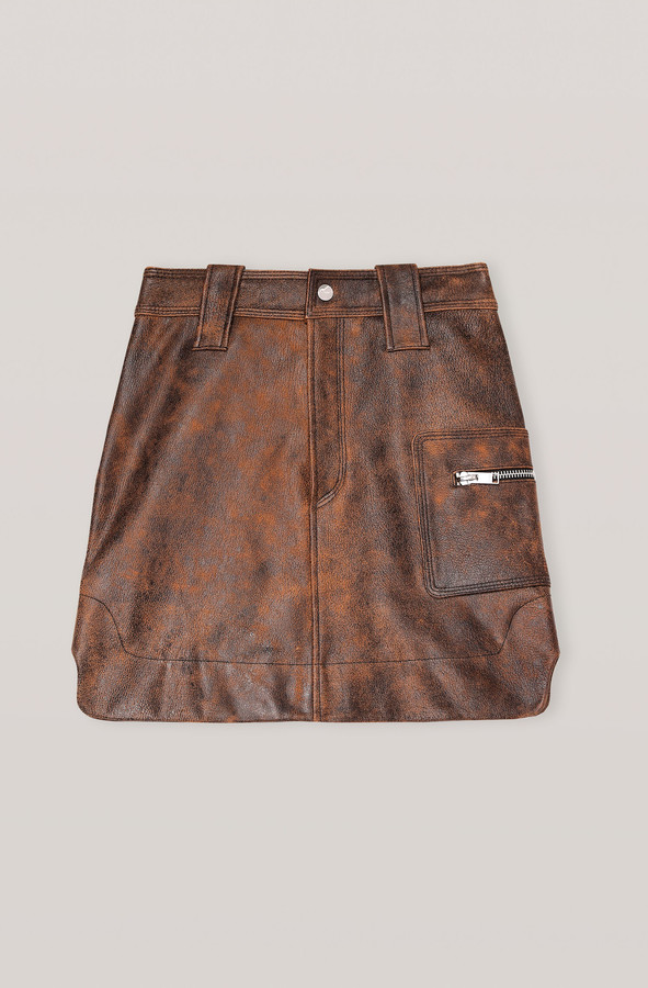 Thumbnail for your product : Ganni Washed Leather Mini Skirt