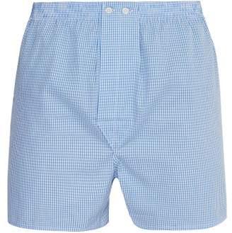 Derek Rose Gingham Cotton Boxer Shorts - Mens - Blue