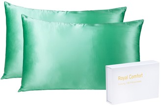 Royal Comfort Mulberry Silk Pillow Case Twin Pack Mint