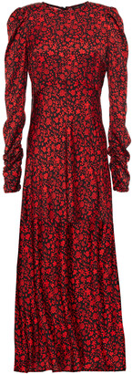 Maje Ruched Floral-print Twill Midi Dress