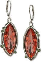 T Tahari Earrings, Silver-Tone Multicolor Crystal Leverback Earrings