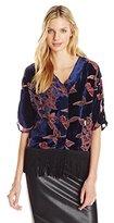 Buffalo David Bitton Women's Dafina Velvet Burnout Wide Sleeve Kimono Blouse