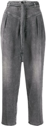 Pinko High-Rise Belted Cropped Jeans