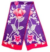 Oscar de la Renta Floral Printed Silk Scarf