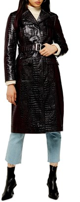 Topshop Tula Alligator Embossed Faux Leather Trench Coat