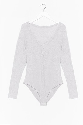 Nasty Gal Womens We Know the Scoop Ribbed Button-Down Bodysuit - Grey Marl