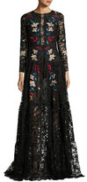 Sachin + Babi Dupont Long-Sleeve Embroidered Floral Tulle Gown, Jet