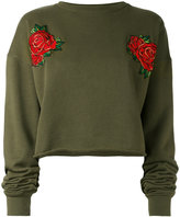 Each X Other rose embroidered cropped sweatshirt - women - Cotton - L