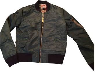 Schott Green Cotton Leather Jacket for Women