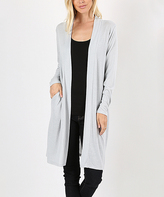 Jane Gray Mist Side-Pocket Longline Open Cardigan