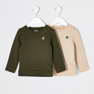 River Island Mini boys khaki RVR sweatshirt 2 pack