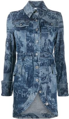 Moschino Graphic-Print Denim Coat