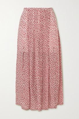 Rixo Georgia Pleated Printed Modal Midi Skirt - Brown
