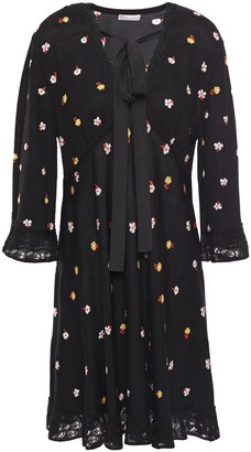 RED Valentino Pussy-bow Lace-trimmed Floral-intarsia Wool-blend Mini Dress