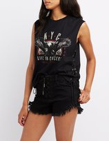 Charlotte Russe Lace-Up Graphic Muscle Tee