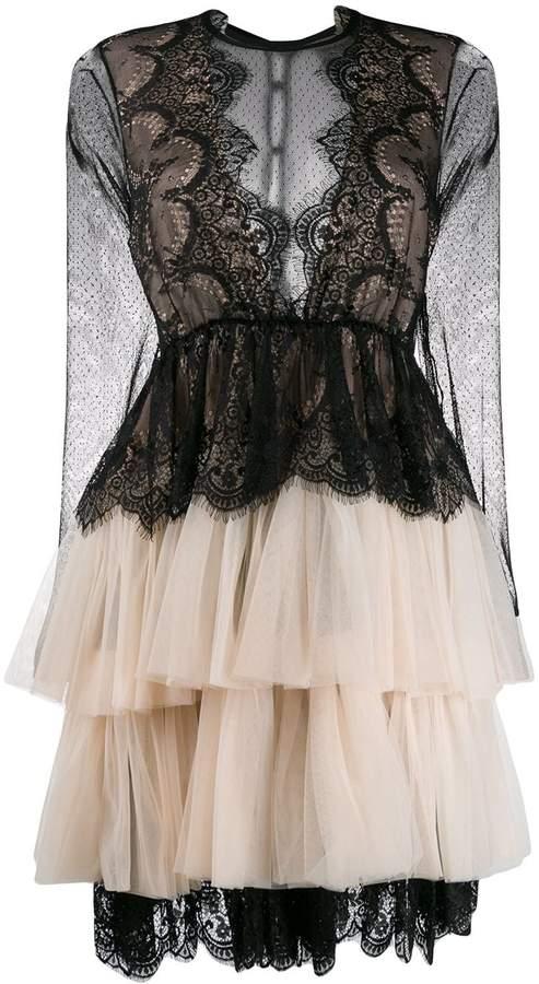 Aniye By lace-trim tulle dress