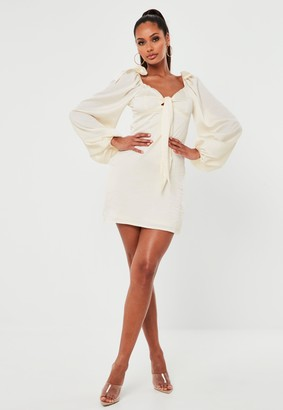 Missguided Champagne Satin Tie Front Milkmaid Skater Dress