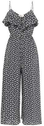 Zimmermann Belted Ruffled Printed Silk-crepe Wide-leg Jumpsuit