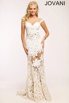 Jovani Floral Lace Cap Sleeve Illusion Neck Sheath Dress 21226