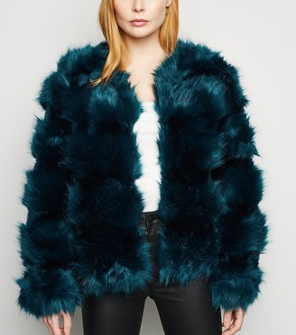 New Look Cameo Rose Faux Fur Coat