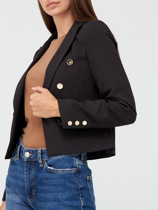 Very Cropped DoubleBreasted Button Detail Blazer - Black