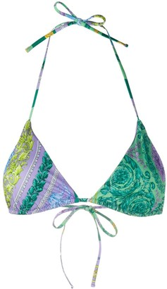 Versace Barocco Mosaic-print bikini top