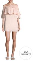 Lucca Couture Poplin Ruffle Off Shoulder Shift Dress