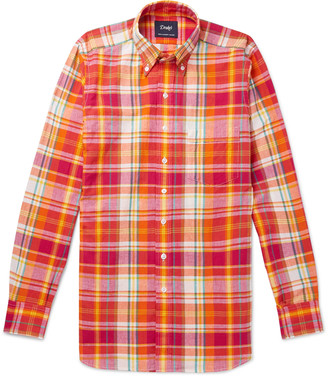 Drakes Slim-Fit Button-Down Collar Checked Cotton Shirt