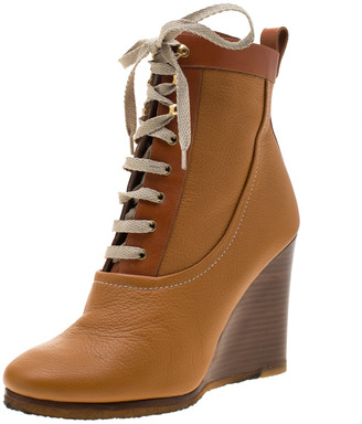 Chloé Bown Leather Lace Up Wedge Ankle Boots Size 38