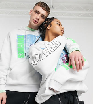 Crooked Tongues unisex oversized hoodie in white with photo floral print