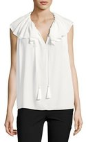 Kate Spade Silk Georgette Tie-Neck Top, White