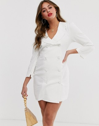 ASOS DESIGN soft denim frill collar button through mini blazer dress in white