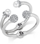 INC International Concepts Imitation Pearl and Crystal Fireball Hinge Bracelet Set, only at Macy's