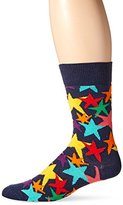 Happy Socks Men's 1 Pack Unisex Combed Cotton Crew-Navy Stars