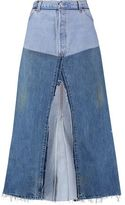 RE/DONE Paneled Frayed Denim Midi Skirt