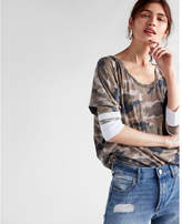 Express one eleven camo burnout slouchy dolman tee