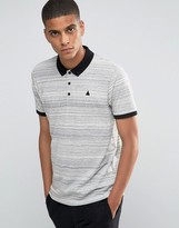 Asos Textured Polo With Logo And Contrast Collar In Gray