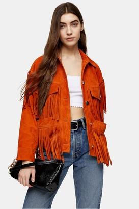 Topshop Womens Orange Fringe Leather Jacket - Orange