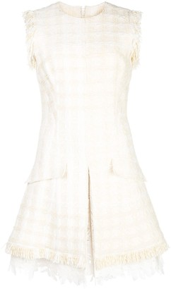 Oscar de la Renta Tweed Lace Shift Dress