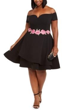 B. Darlin Trendy Plus Size Off-The-Shoulder Fit & Flare Dress