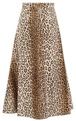 Emilia Wickstead Ioni Leopard Print Faux Fur Midi Skirt - Womens - Leopard