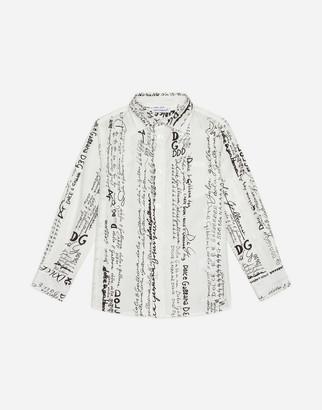 Dolce & Gabbana Poplin Shirt With Logo Print