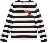Gucci Striped cotton crew neck with heart