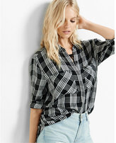 Express black and white plaid oversized shirt