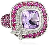 Kenneth Jay Lane Fine Jewelry Sterling Silver, Amethyst, White Topaz and Rhodolite Butterfly Ring, Size 7
