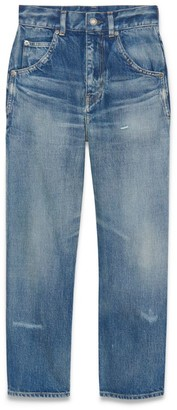Saint Laurent High-Rise Straight Cropped Jeans
