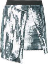 AviÃ1 sequinned asymmetric mini skirt