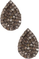 Oxidized Sterling Silver Diamond Teardrop Stud Earrings - 0.85 ctw