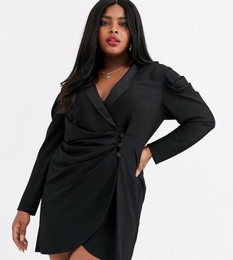 ASOS DESIGN Curve mini drape front tux dress