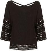 Mint Velvet Black Crochet Trim Knitted Top